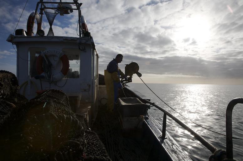 Gavin Shiel hauling crab pots